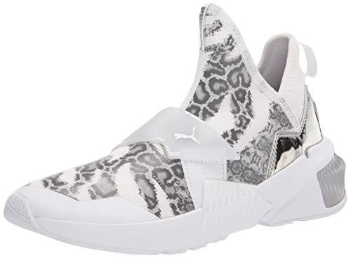 PUMA Women's Provoke XT Mid Cross Trainer Sneaker White-Metallic Silver, 7.5