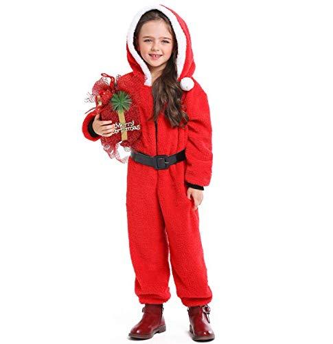 Kerst Meisje Kostuum Feestjurk Jumpsuit met Riem, Zachte Koraal Fleece Stof/Weefsel, Kerstman Meisje Kostuum voor 4-6/6-8/8-10/10-12Jaar Oud