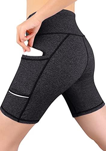 GRAT.UNIC Pantalón Corto Deportivo para Mujer, Running Pantalones Cortos de Yoga con Bolsillo Lateral, Fitness Mallas Deportivas (Gris, S)
