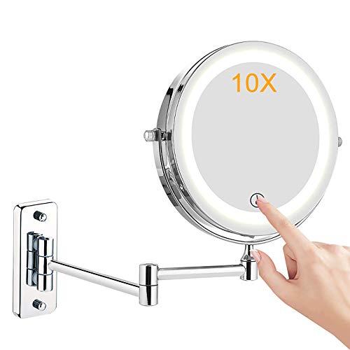 Kosmetikspiegel LED Beleuchtet, 1x/10x Wandmontage doppelseite Vergrößerung Schminkspiegel, 360° Schwenkbar Faltbar Rasierspiegel, Metall Verchromt für Badezimmer, Kosmetikstudio, Spa und Hotel