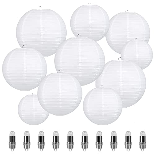 LIHAO 10er weiße Papier Laterne Lampions rund Lampenschirm mit 10 Pcs Warmweiß Mini LED-Ballons Lichter Hochtzeit Dekoration Papierlaterne (Verschiedene Größen)