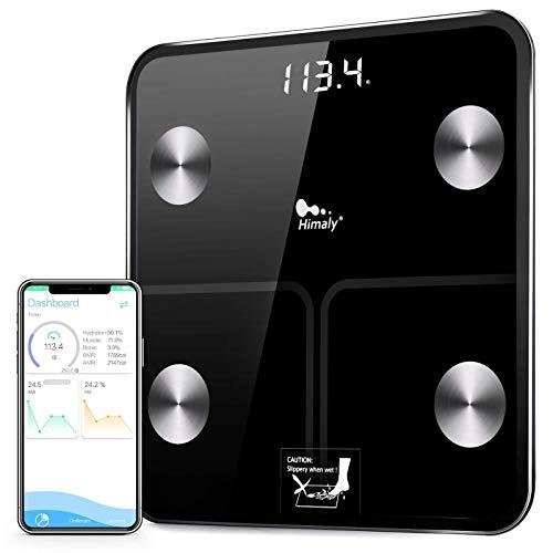 himaly Báscula de Baño Digital Báscula Electrónica, Alta Medición Plataforma de Vidrio con Pantalla LCD, 180 kg / 400lb, Tecnologia Step-on, Bluetooth para Andriod e iOS (Negro)