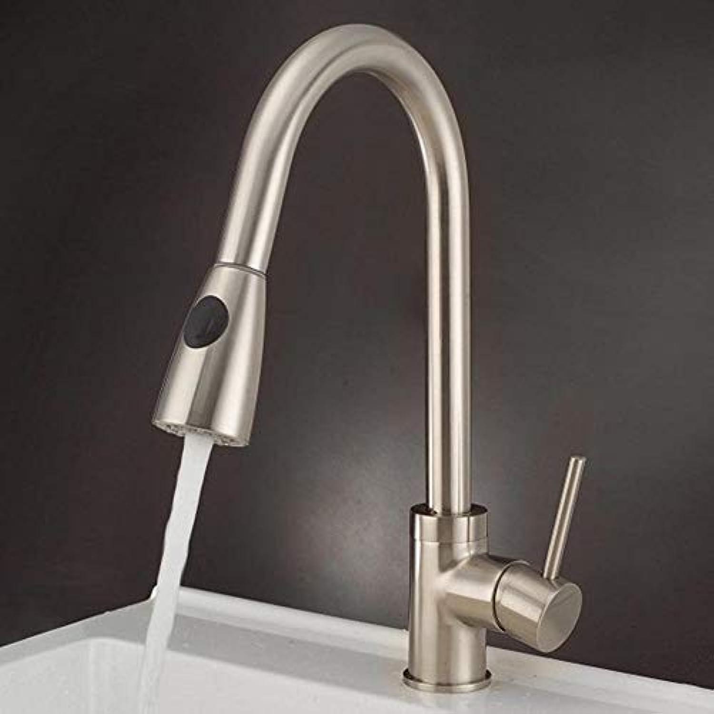 SEBAS Home Pull-Pull-Drehbohrung um 360 ° Drehen Sie die Küchenarmatur mit heiem und kaltem Wasserhahn
