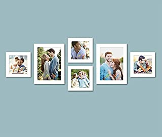 Art Street Set of 6 Individual White Wall Photo Frames Wall Decor Free Hanging Accessories Included ||Mix Size||4 Units 5x...
