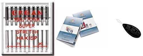 Organ Haushalts-Nähmaschinennadeln – Super-Stretch (HAX1SP) 130/705 H, 10 Stück, Größe: 75/11, 90/14 + einzigartiger großer Nadeleinfädler & Organ-Nadel-Index
