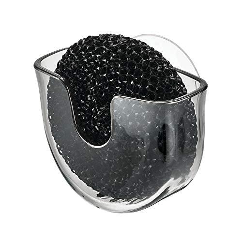 iDesign Schwammhalter Küche, kleine Schwammhalterung mit Saugnapf aus Kunststoff, Spülbeckenorganizer für runden Spülschwamm oder Topfkratzer, grau, 9,8 cm x 5,1 cm x 7 cm