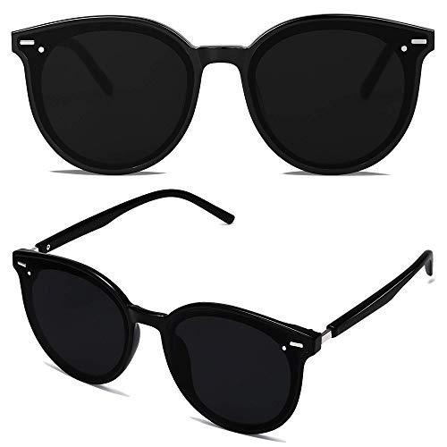 SOJOS Classic Round Retro Plastic Frame Vintage Large Sunglasses BLOSSOM SJ2067 with Black Frame/Grey Lens