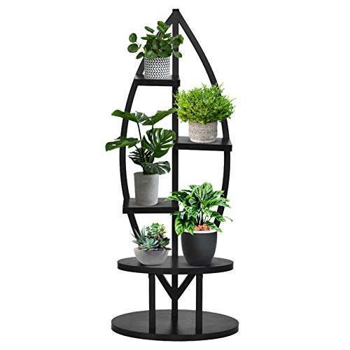 4 Tier Metal Plant Stand, Modern Multi-Layer Bonsai Flower Holder Pot Display Utility Shelf Plant Storage Rack for Office, Livingroom and Garden (Black)