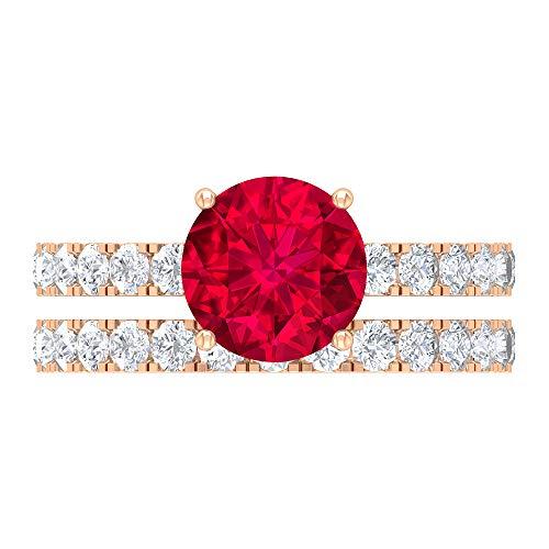 Conjunto de anillos de boda de rubí, piedras preciosas redondas de 3,29 quilates, anillo de compromiso D-VSSI moissanite 8 mm, anillo de ajuste francés, 10K Oro rosa, Size:EU 59
