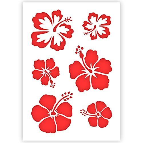 Qbix Aloha Flowers Stencil - Flowers Stencil - Hawaii Flower Stencil - A5 Size - Reusable Kids Friendly DIY Stencil for Painting, Baking, Crafts, Wall, Furniture