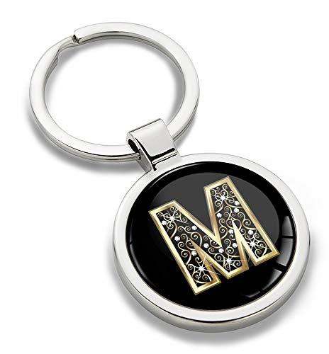 Biomar Labs® Portachiavi 3D in Metallo con Lettera dell'alfabeto A-Z Personalizzabile, Oro da Uomo e Donna, Lettera M, KK 65