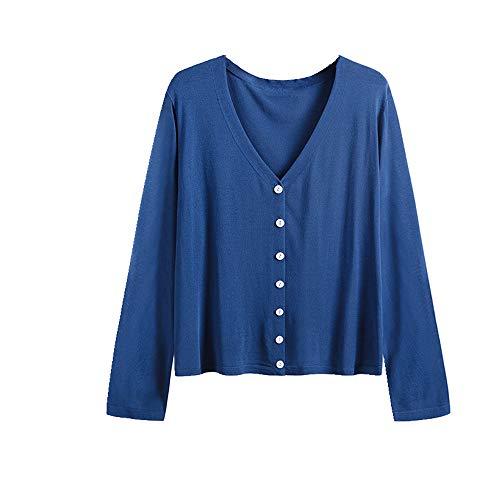 NOBRAND New Large Atmungsaktiv Sonnenschutz Pullover Lose Cardigan für Frauen Gr. XXL, blau