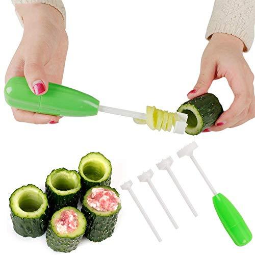 Taladro de verduras hueco estilo martillo, cortador de sacacorchos de verduras, cortador de espiral reemplazable,multifuncional para la cocina del hogar (1 juego)