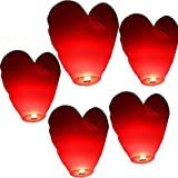 kekafu 5Pcs Halloween Heart Red Chinese Lanterns to Release in Sky, Floating Sky Lanterns Christmas,Biodegradable Lanterns to Release in Sky for Weddings, Celebrations, Memorial Ceremonies, 31.5x17in