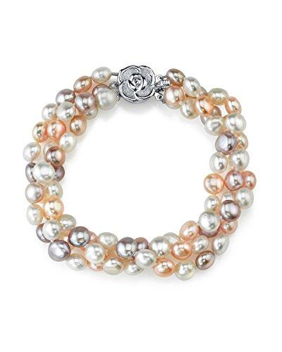 5 mm-Bracciale in perle d'acqua dolce coltivate, colore: Multicolore