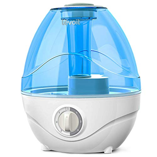 LEVOIT Humidifiers for Bedroom, Ultrasonic Cool Mist Air Vaporizer for Babies (BPA Free), Easy to Clean, Night Light, Lasts up to 24 Hours, 2.4L, Blue