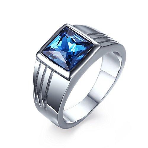 CARTER PAUL Männer Edelstahl Punk Art Blau Diamant Ring, Größe 59