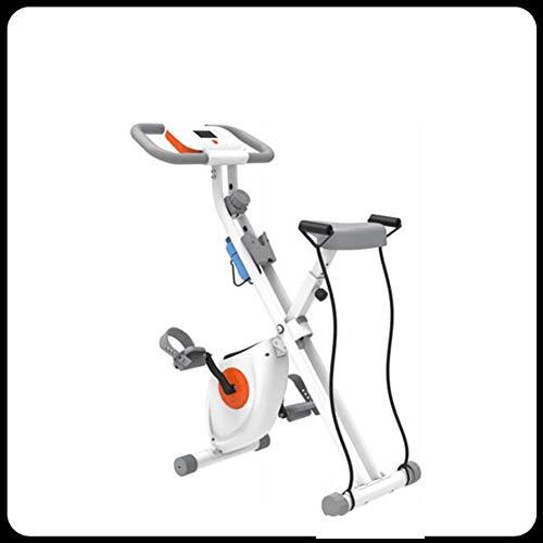 Bicicleta estática elíptica, bicicleta estática de interior con control magnético doméstico, máquina de entrenamiento interior plegable, con respaldo, con pantalla LCD y resistencia ajustable