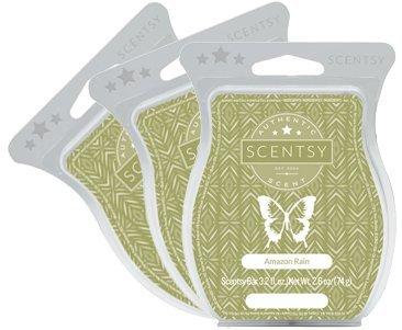 Scentsy, Amazon Rain, Wickless Candle Tart Warmer Wax 3.2 Oz Bar, 3-pack (3)