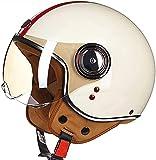 LJL Caschi Jet e Demi-Jet, Casco Aperto Casco Moto Casco Vintage Casco Pilota Vespa Cruiser Casco Scooter ECE Casco Certificato Unisex (Color : A, Size : L: for Head 57-58 cm)
