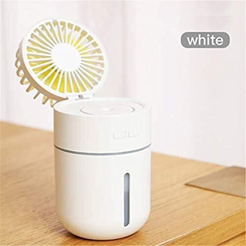 Portable Air Conditioner Fan USB Rechargeable Humidifier Misting Fan,Noiseless Mini Evaporative Cooler For Home Bedroom Office Dorm Car Camping Tent Pink 9.5 * 9 * 15.7cm (Color : White)