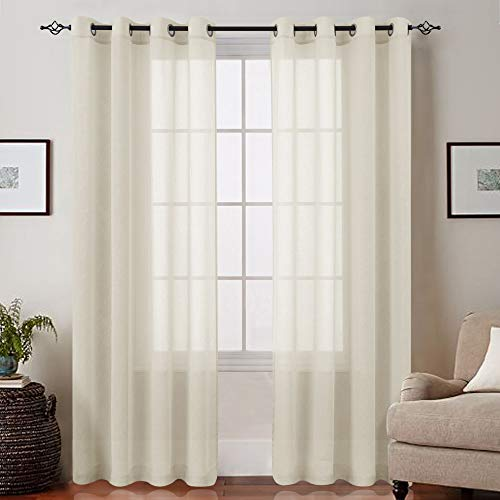 Nature Sheer Curtains for Living Room 95 inch Length Grommet Top Voile Window Treatment Sets for Bedroom 2 Panels Drapes