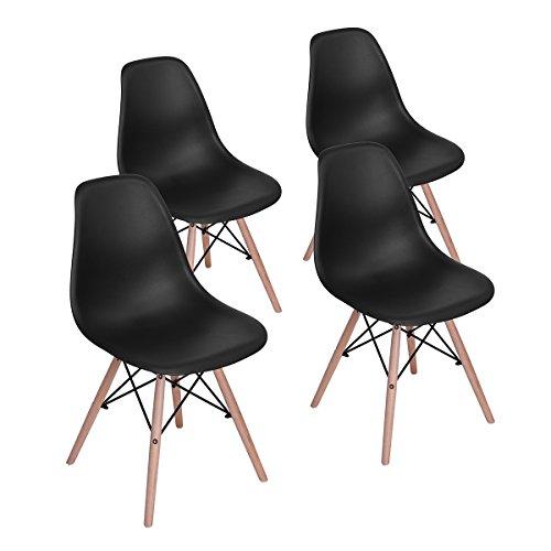 setsail 4 x Set Esszimmerstühle Bürostuhl Wohnzimmerstuhl Retro Design mit Massivholzbeinen, Moderner Kunststoff Chair, Schwarz