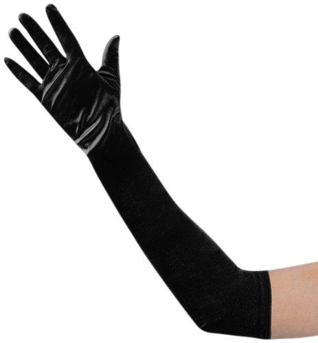 guanti lunghi donna Guanti neri lunghi in microfibra elasticizzati cm 48