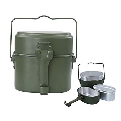 Verde Militar 3 uds en 1 Utensilios de Cocina para Acampar, Juego de Cocina, Senderismo, Supervivencia, fiambreras, Olla/Cuenco, Kit de desorden del ejército, Herramientas para Exteriores
