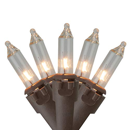 10 Count Clear Mini Christmas Light Set, 5.5 ft Brown Wire