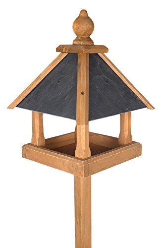 Edles Vogelhaus 3035 mit Ständer Massivholz 165 cm hoch und mit Schieferdach gedeckt Futterkrippe Futterspender Futterhaus