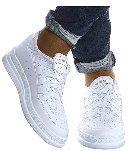 Leif Nelson Herren Schuhe für Freizeit Sport Freizeitschuhe Männer weiße Sneaker Sommer Coole Elegante Sommerschuhe Sportschuhe Weiße Schuhe für Jungen Winterschuhe Halbschuhe LN201;41, Weiss