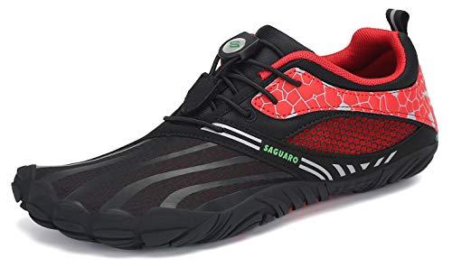 SAGUARO Hombre Mujer Zapatos Minimalistas Comodas Respirable Zapatillas de Trail Running Ligeras Calzado Barefoot Antideslizante para Gimnasio Fitness Senderismo Montaña, Rosa Roja 39 EU
