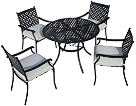 Festival Depot 5 Piece Patio Dining Set Metal Chairs with Seat Cushions and Round Iron Table with Umbrella Hole All Weather Outdoor Furniture for Bistro Deck Garden (grey1)