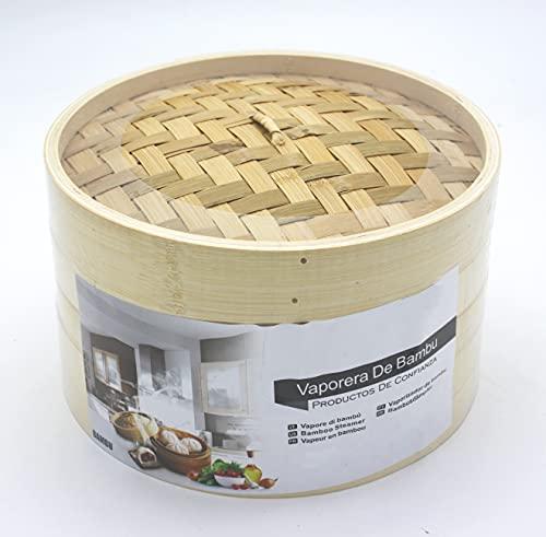 LEYENDAS Vaporiera in bambù per cottura a vapore, cuocitore con coperchio, cestello di bambù, contenitore in bambù, orientale, cottura a vapore (24 x 15 cm, 3 pezzi)