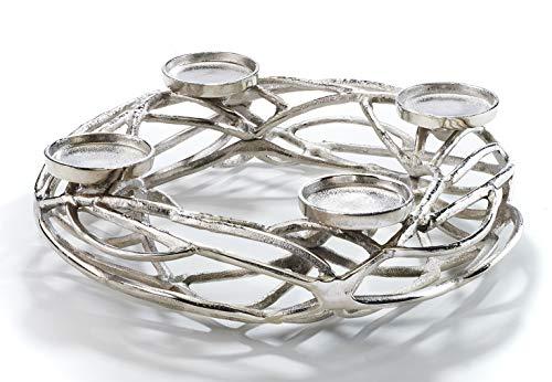 Kobolo Deko-Kranz Adventskranz groß - Metall - Silber - für 4 Kerzen - D40 cm