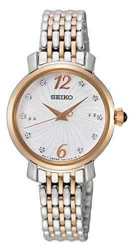 Seiko dames analoog kwarts horloge met massief roestvrij stalen armband SRZ524P1