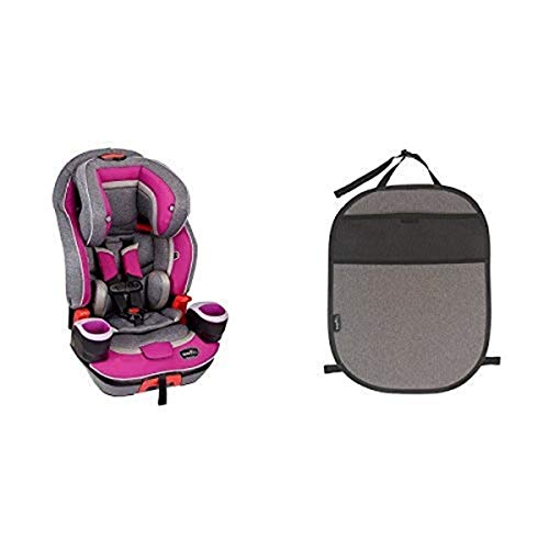 Evenflo Evolve Platinum 3-in-1 Combination Booster Seat, Dreamer with Car Seat Kick Mat with Storage Pocket, Black