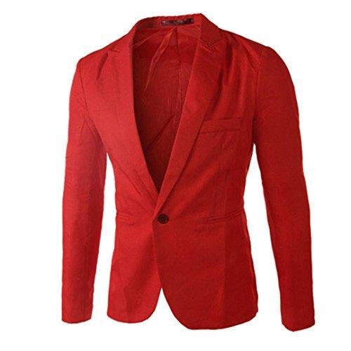 ESAILQ Bekleidung - Chaqueta de Traje - Básico - Cuello Redondo - Manga Larga - para Hombre Rojo Medium