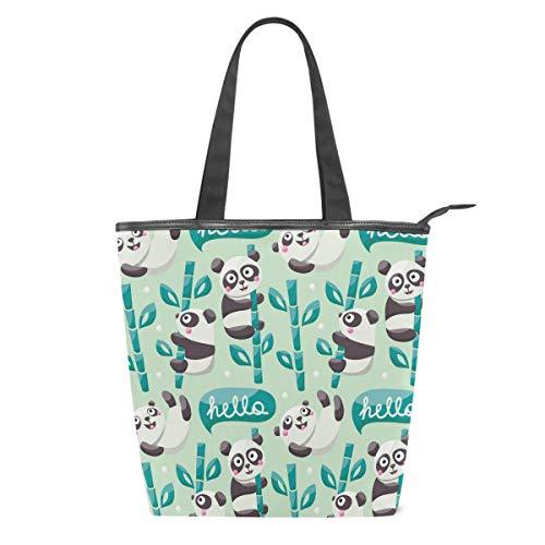 Ute Pandas Bambusblätter, Damen, Leinen, Einkaufstasche, Handtasche für Schule, Strand, Reisen, Arbeit, Fitnessstudio, Alltag