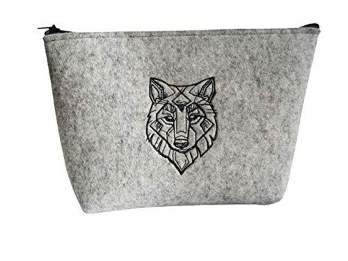 Kulturbeutel, Kosmetiktasche aus Wollfilz, Motiv Wolf gestickt, ungefüttert, schmutz- und wasserabweisend