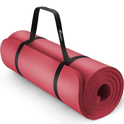 TRESKO® Esterilla de Fitness 185 x 60 cm y 190 x 100 cm para Gimnasia, Yoga, Pilates y Cualquier Tipo de Entrenamiento | Suave y cómoda | Espuma NBR (Rojo, 190 x 100 x 1,5 cm)