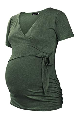 Molliya Maternity Shirt Short & Long Sleeve Side Ruched Summer Tops with Side Tie Bow Casual Pregnancy Clothes