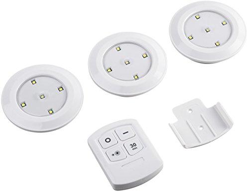 Meister LED-Beleuchtungs-Set - 3 Leuchten - Fernbedienung - kaltweiß / Spots / Strahler / Möbelleuchten / Schrankleuchten / Vitrinenbeleuchtung / Küchenbeleuchtung / Unterbaubeleuchtung / 7474280
