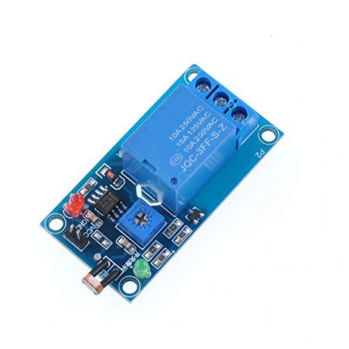 Oiyagai - Interruptor de Sensor de fotoswitch de 5 V LDR, Módulo de relé de fotoresistencia, Detección de luz, Placa de Sensor fotosensible 12V