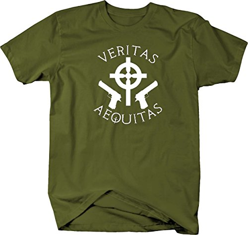 Veritas Aequitas - Truth & Justice Celtic Cross Boondock Saints T shirt - Large
