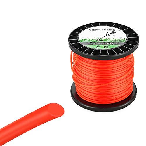 Trimmerfaden 3,0mm / 60m Rund Ersatz-Trimmer Leine für Weed Grass Yard oder Garden Orangerot Rasen Mähfaden Ersatzfaden Rasentrimmer Nylonfaden Motorsense Trimmerschnur