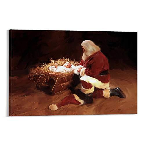 Póster decorativo de la primera Navidad de Papá Noel reza por el nacimiento del bebé Jesús, lienzo decorativo para pared, póster de sala de estar, 60 x 90 cm