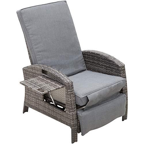 Outsunny Rattanstuhl mit Klapptisch, Liegestuhl, Gartenstuhl, Verstellbare Rückenlehne und Fußstütze, Metall, 92 x 72 x 102 cm