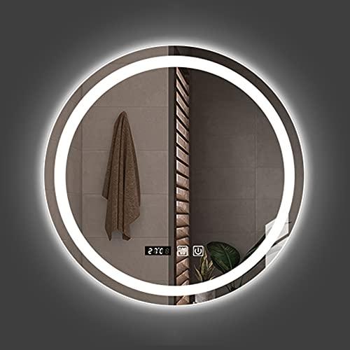 Espejo de baño LED, con 3000K-6000K Regulable, antivaho, Espejo de baño Iluminado con botón táctil Inteligente, 60cm / 70cm / 80cm,...